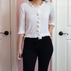 Ruffled Buttoned Knit Short Cardigan